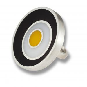 Anello tre cerchi - argento e resina colorata