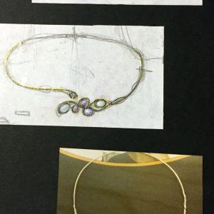 Girocollo in argento con pietra di luna, ametista e zirconi realizzato a mano
