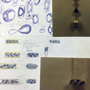 Pendente ed anello in oro bianco con brillanti, zaffiri e perla realizzato a mano