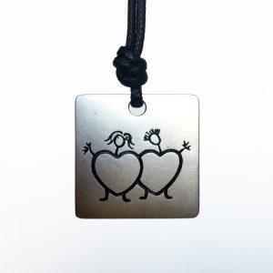 duecuori&ungioiello. Ciondolo quadrato in argento